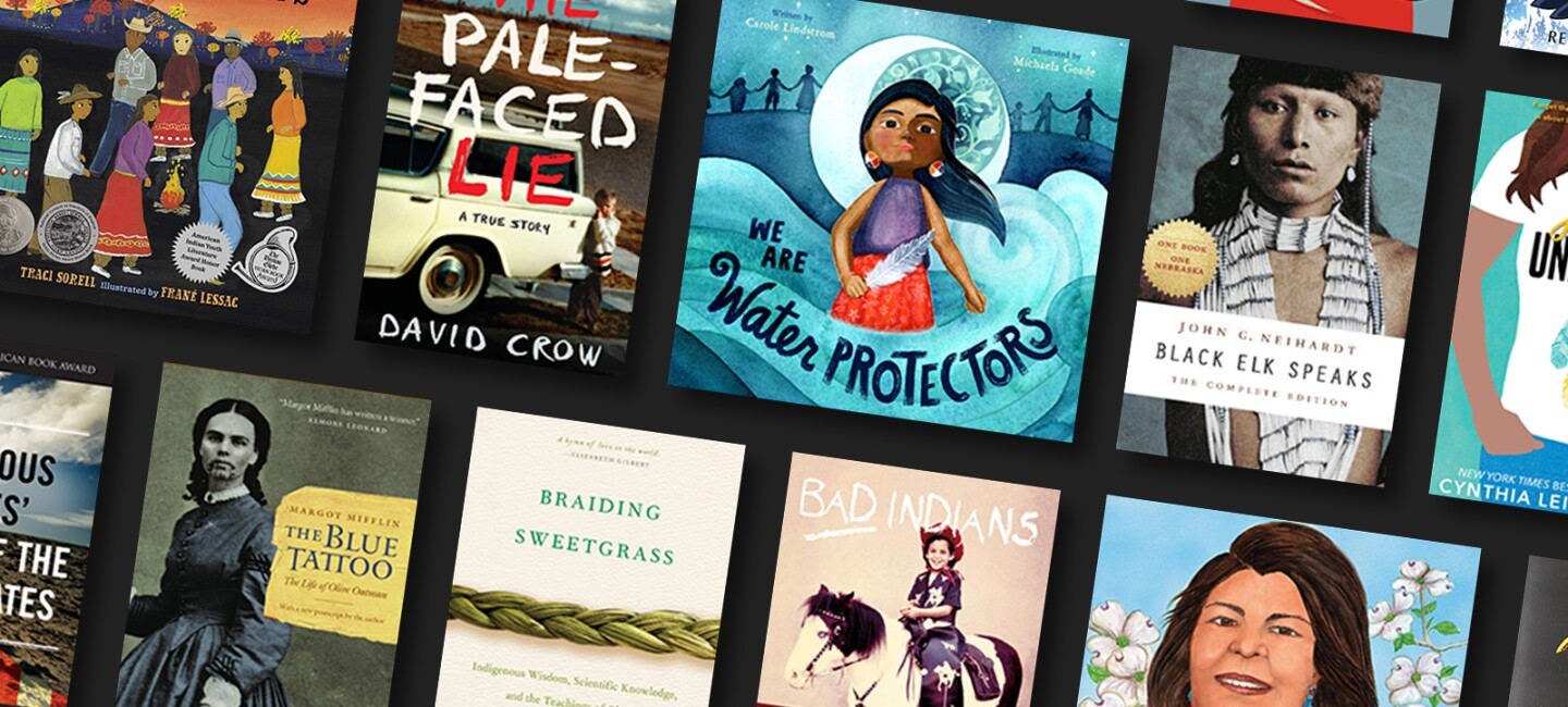 A number of book covers, about Indigenous Peoples, including books for young adults, children, fiction, biography, and historical novels.