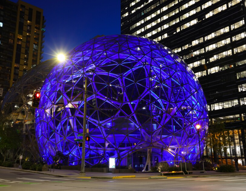 One of the Amazon Spheres is light in blue to support front line workers.