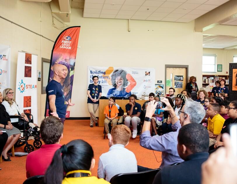 Students at Metro Nashville Public Schools enjoy a visit with Jeff Bezos as Amazon Future Engineer program announces expansion into their schools.