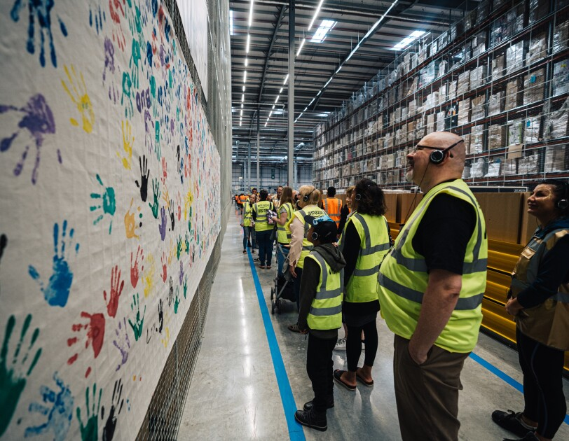 Amazon Goes Gold event paint wall