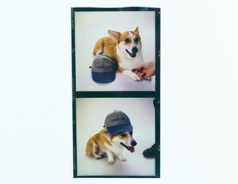 Two pictures of a Welsh Corgi named Rufus, the first dog of Amazon. In the first photo, he is sitting. In the second, he is wearing a cap that says amazon.com.