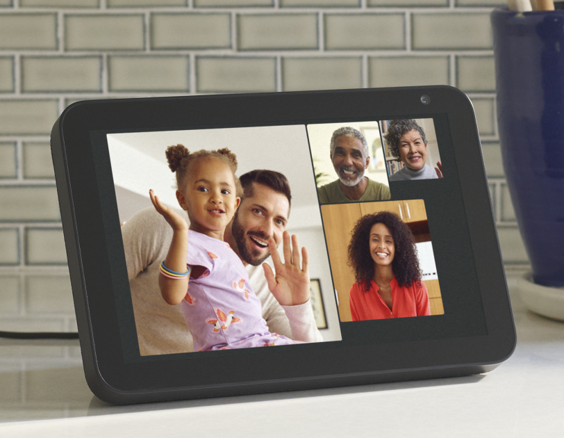 A family video call on an Amazon Echo Show.