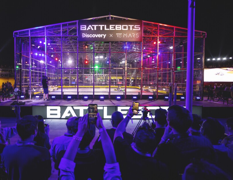 Battlebots stage at re:MARS 2018.