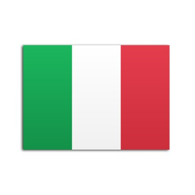 Flat flag of Italy on a white background