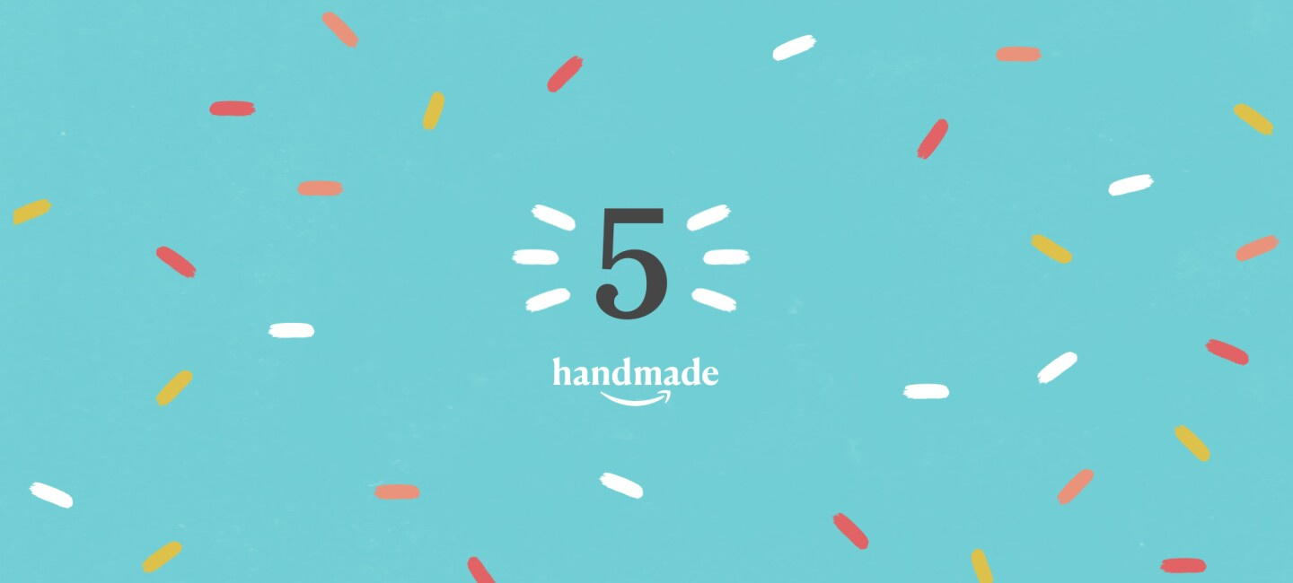"""illustration with aqua background, showing """"5"""" """"Handmade"""" logo, and the Amazon smile, surrounded by multicolored sprinkles."""