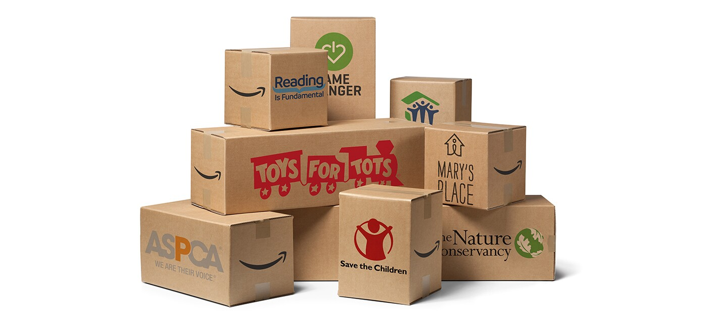 A stack of cardboard boxes with charity / NGO logos on them, including Mary's Place, the Nature Conservatory, Save the Children, ASPCA, toys for Tots, and more.