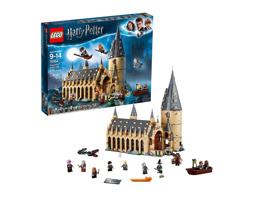"An 878-piece LEGO set with 10 mini figures: Harry Potter, Ron Weasley, Hermione Granger, Draco Malfoy, Susan bones, Professor McGonagall, Professor quirrell with dual Lord Voldemort face, Hagrid, Albus Dumbledore and nearly headless Nick, as well as buildable basilisk and fawkes creatures, plus hedwig and scabbers figures. Hogwarts great Hall measures over 14"" (37cm) high, 11"" (30cm) wide and 7"" (18cm) deep."