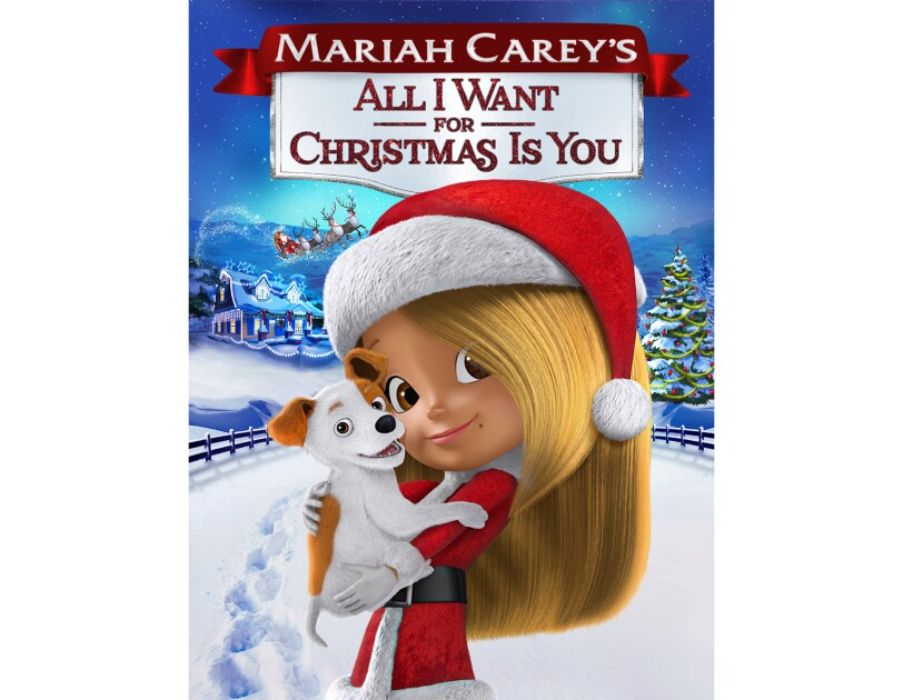 "Artwork for ""Mariah Carey's All I want for Christmas is you"" animated movie, showing a young girl in a santa hat and outfit, holding a puppy."