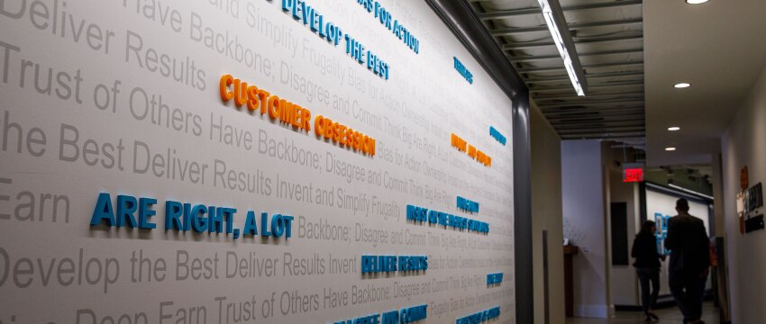 Amazon's leadership principles displayed on a wall in our Washington DC office