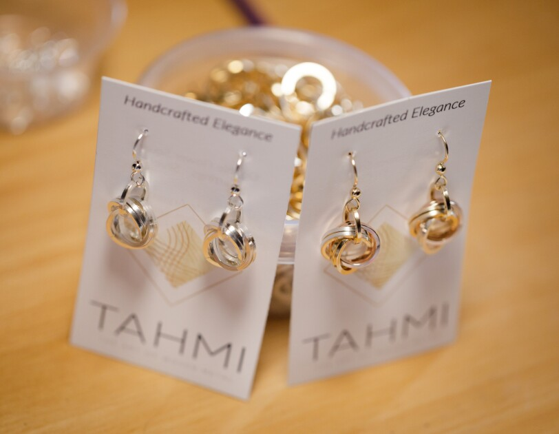 Two pairs of earrings.