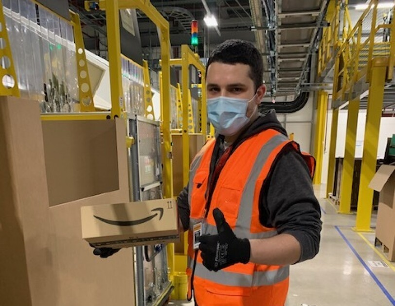 Amazon employee wearing mask