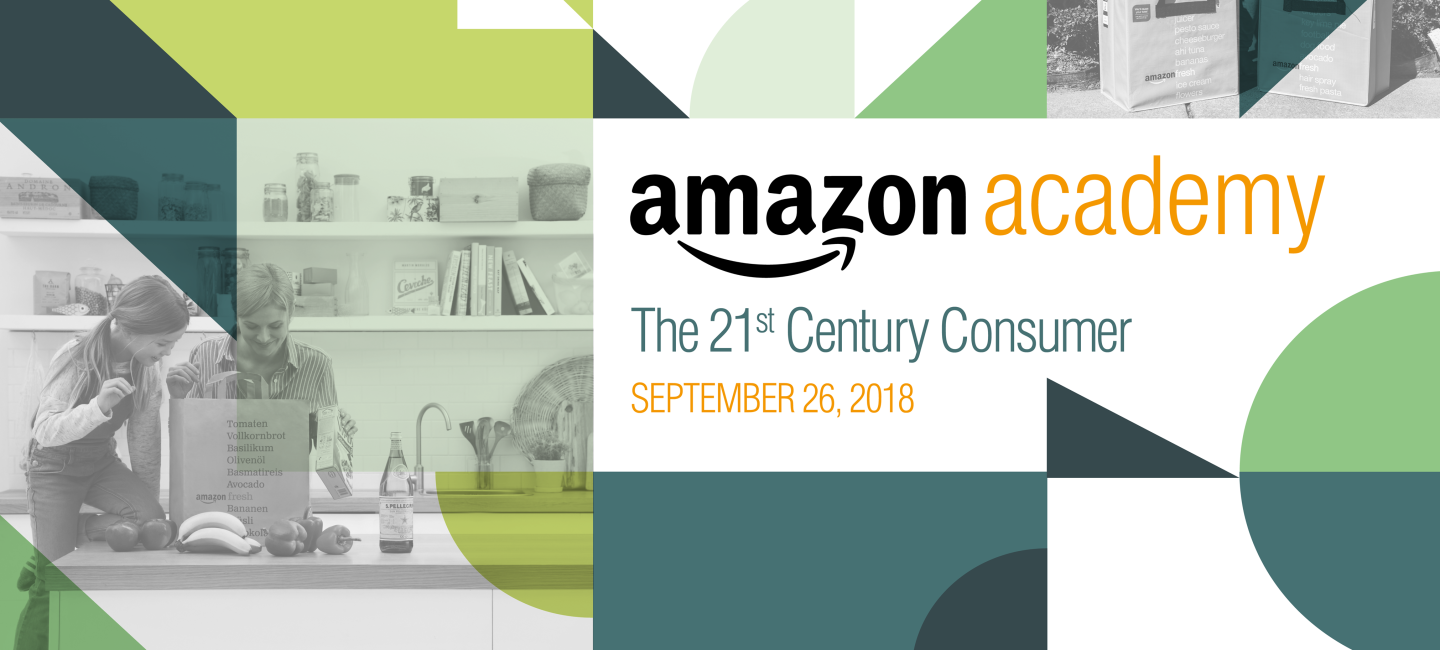 Amazon Academy banner that is titled 21st century consumer, colored design.