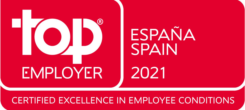 Logo en rojo con tres partes. En la primera  a la izquierda pone en letras blancas Top employer, en la segunda a la derecha España Spain 2021. Y en la tercera, que está en la parte inferior Certified excellence in eployee conditions.