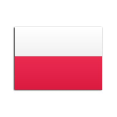 Flat flag of Poland on white background