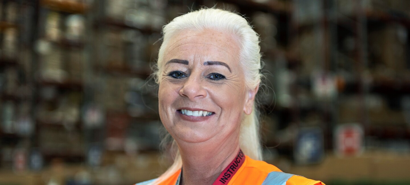 Jane Childs, fulfilment centre employee at Amazon in Doncaster, pictured at work