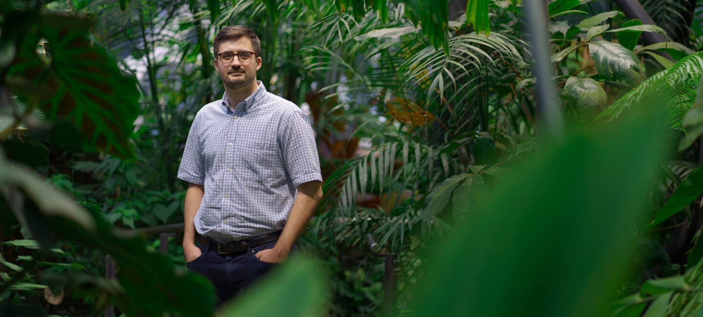 An Amazonian, Michael Tapich, poses in the Amazon Spheres