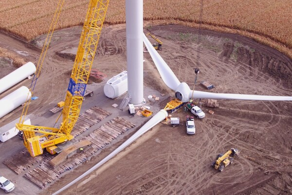 Wind farms like this are just one of the ways AWS is working to achieve its goal of 100% renewable energy.