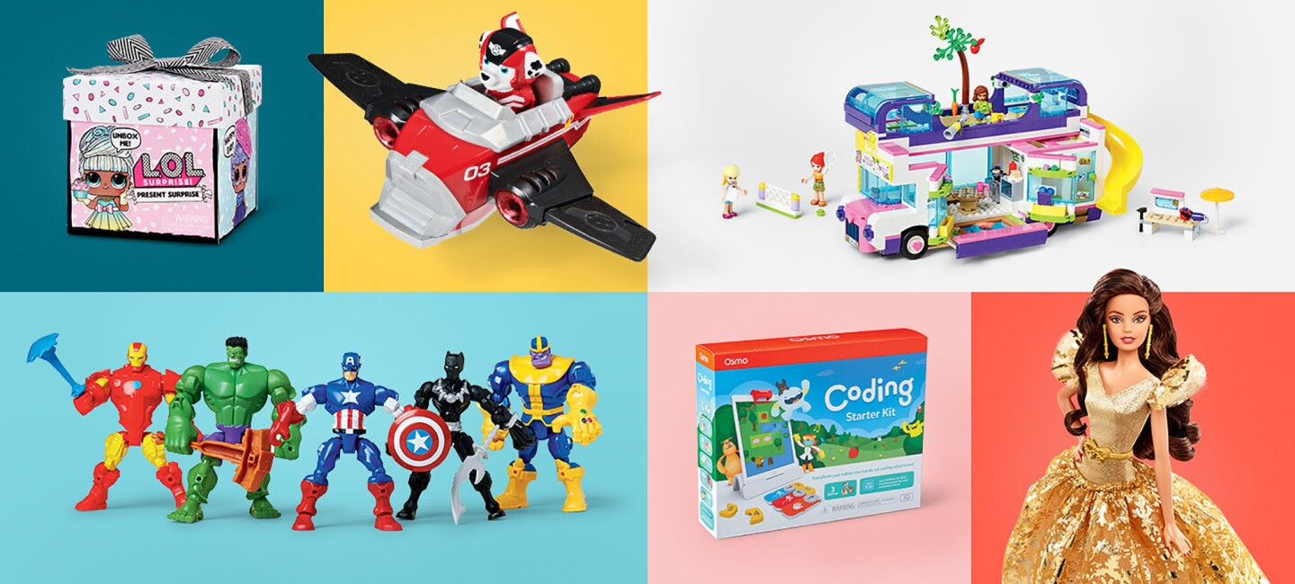 Assorted top toys of 2020, including LOL Doll, Osmo, Barbie, and others.