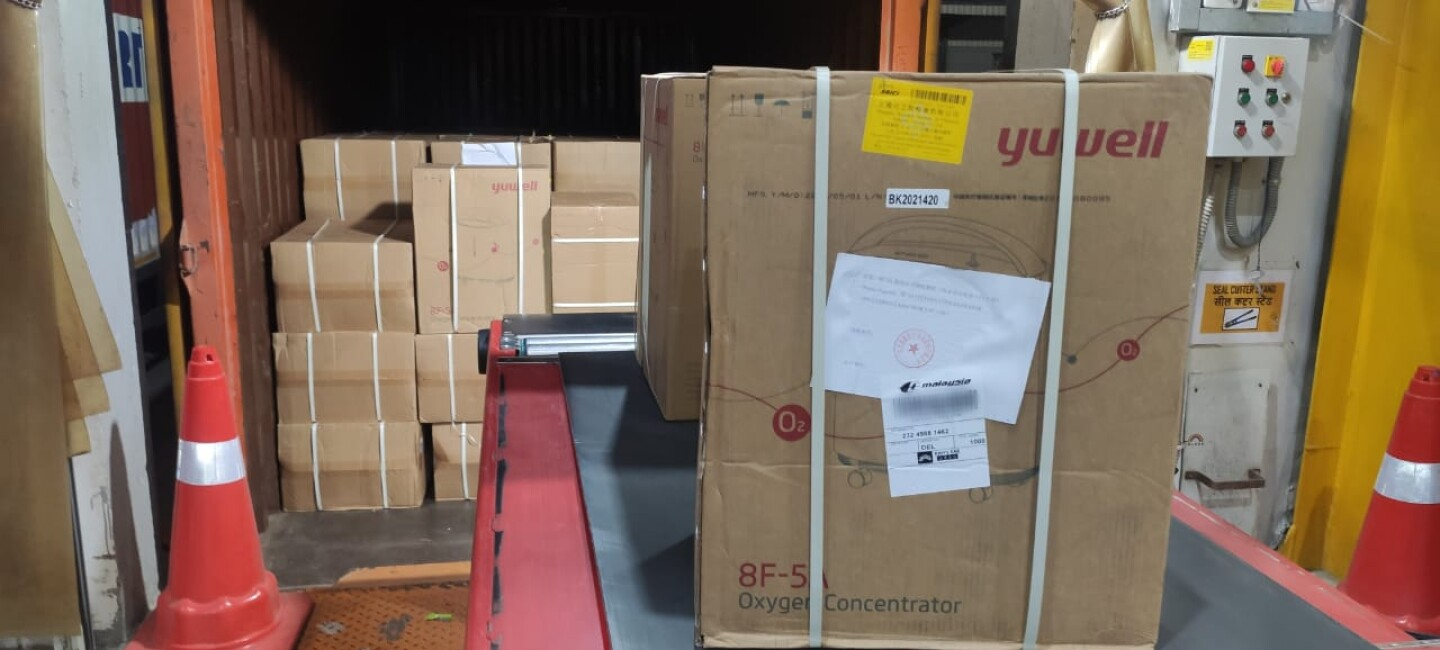 Boxes of oxygen concentrators arriving in India.