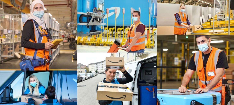 Collage aus Mitarbeiter:innen der Logistik-, Verteil- und Sortierzentren.