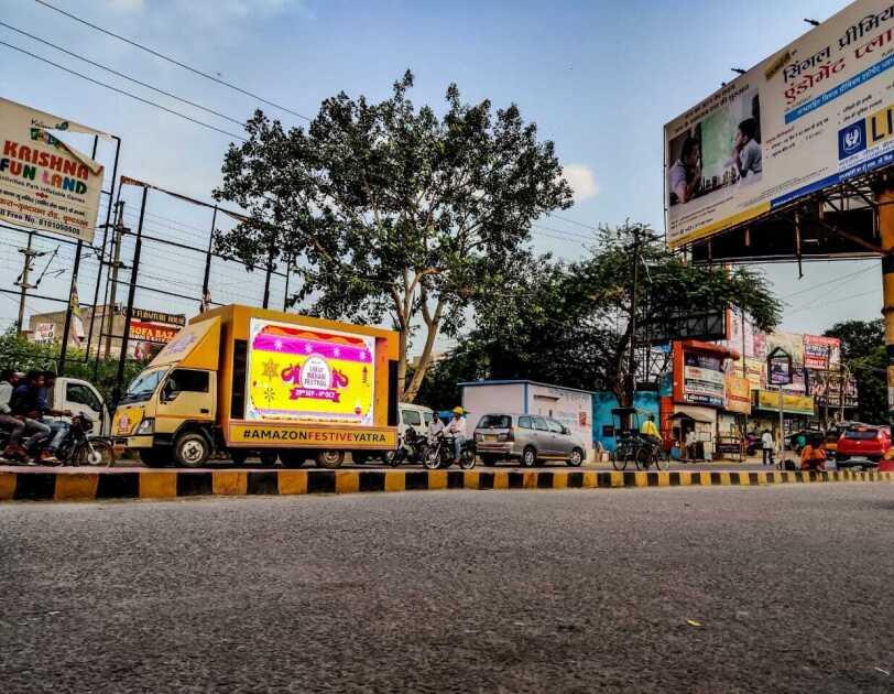FEstive truck on the street in Mathura