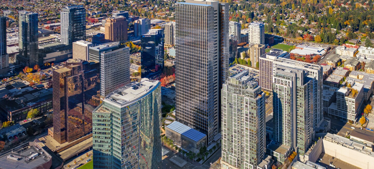 Rendering of the proposed Amazon Bellevue tower.
