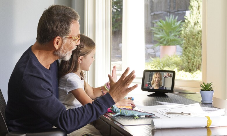 Father and daughter on Echo Show 8 family call