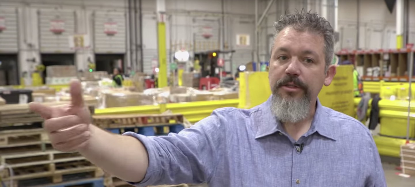 Josh Teeter in an Amazon fulfillment center