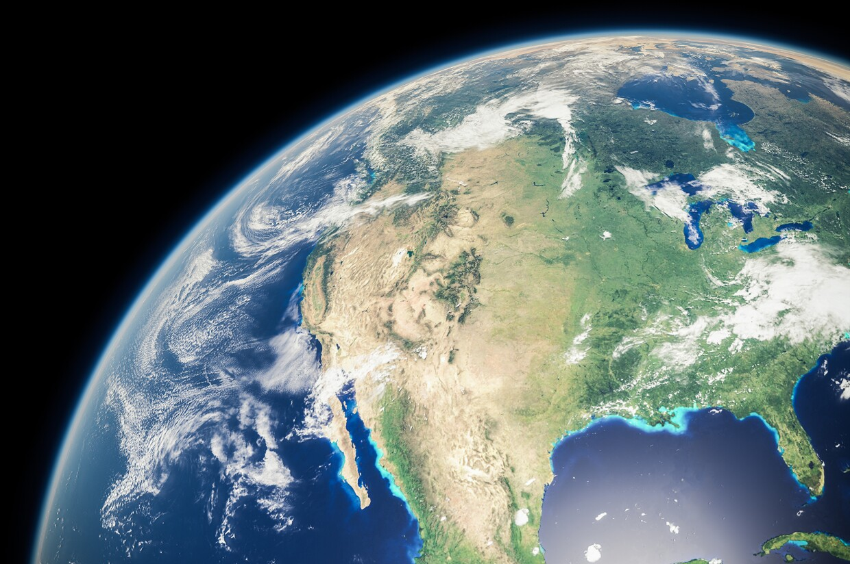 An image of North America from outside the atmosphere.