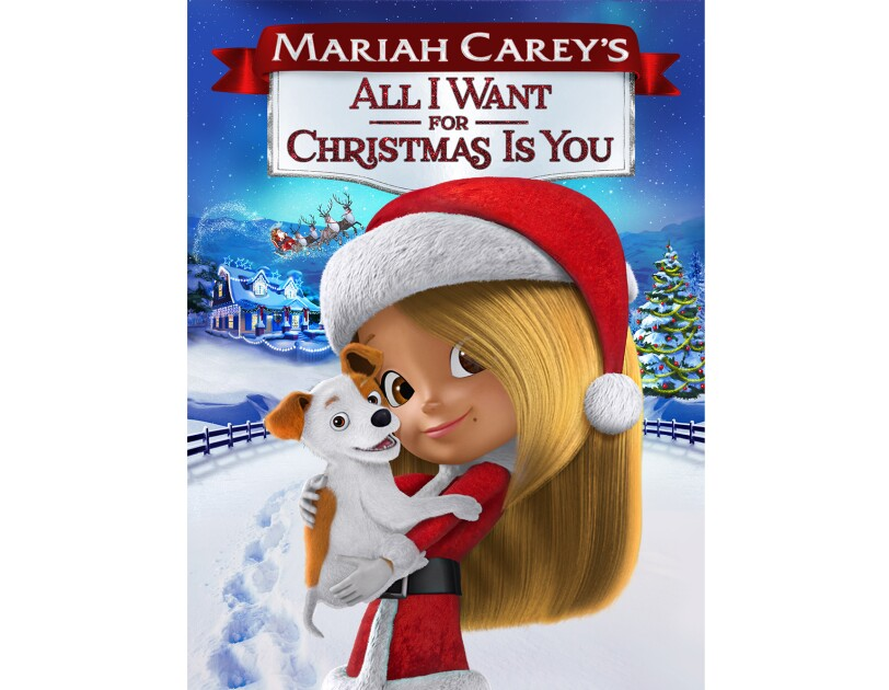 """Artwork for """"Mariah Carey's All I want for Christmas is you"""" animated movie, showing a young girl in a santa hat and outfit, holding a puppy."""
