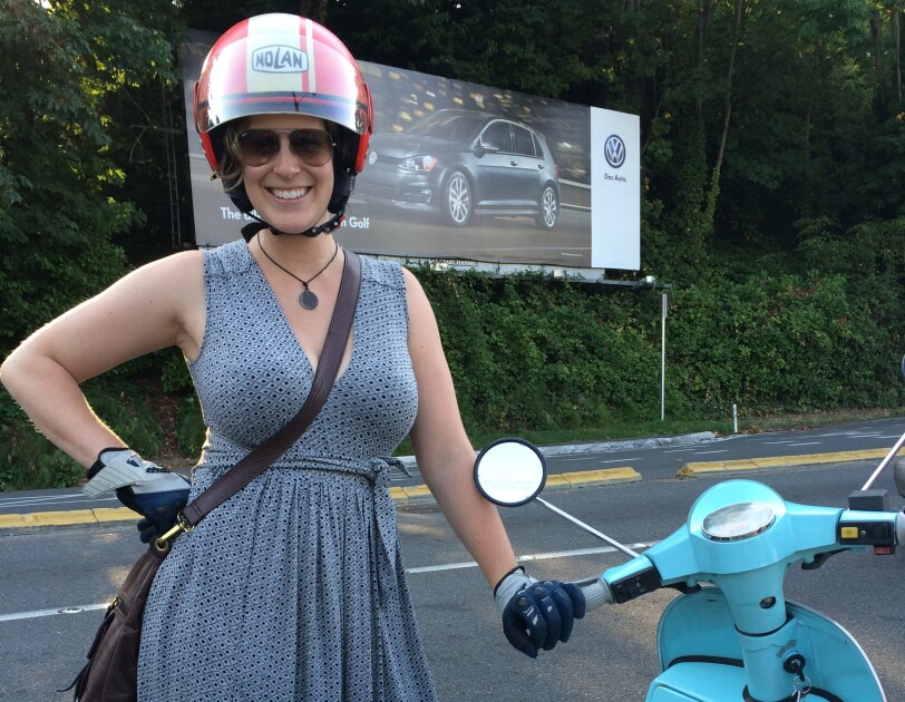 Kate Koehn with her scooter