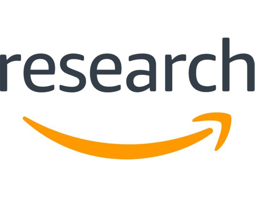 Das Amazon Research-Logo und daraunter ist das Amazon-Smile-Symbol