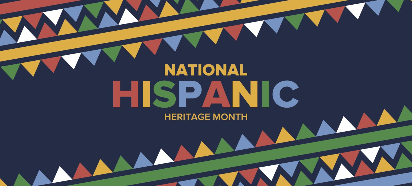 """A colorful illustration with """"National Hispanic Herigate Month"""" in text"""