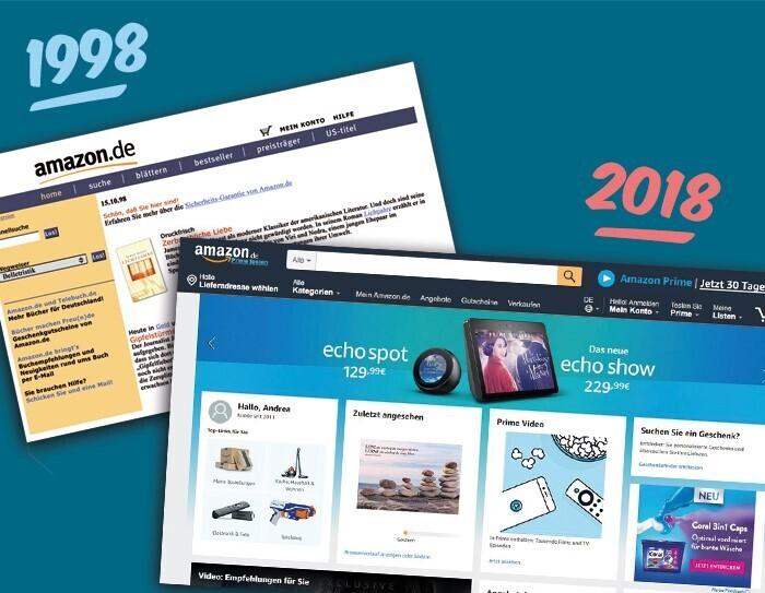 Die Amazon.de Website im Vergleich von 1998 und 2018