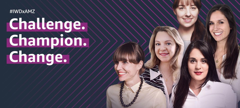 5 Frauen lächeln in die Kamera. Neben ihnen stehen die Worte Challenge.Champion.Change.