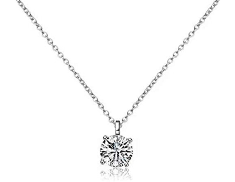 All For Love zirconia diamond necklace with sterling silver chain