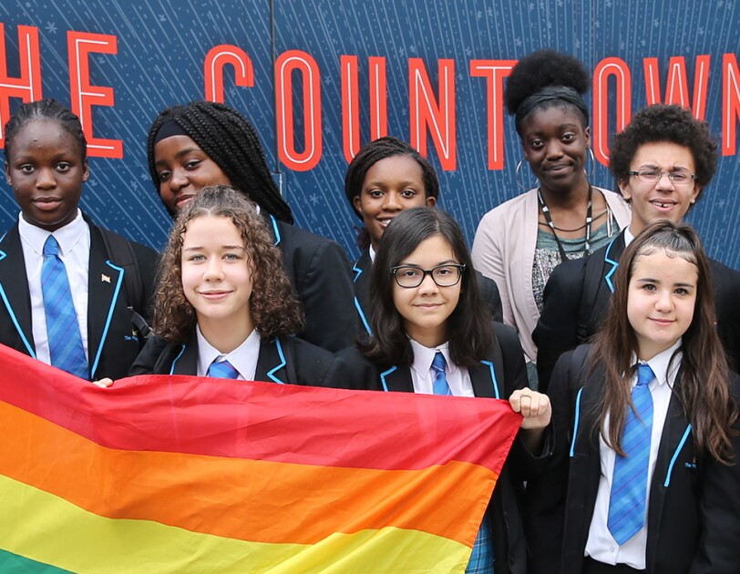 school children at the Amazon LGBT+ reading roadshow