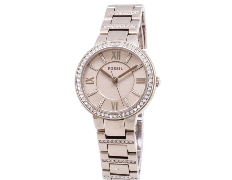 Fossil Virginia stainless steel crystal-accented watch