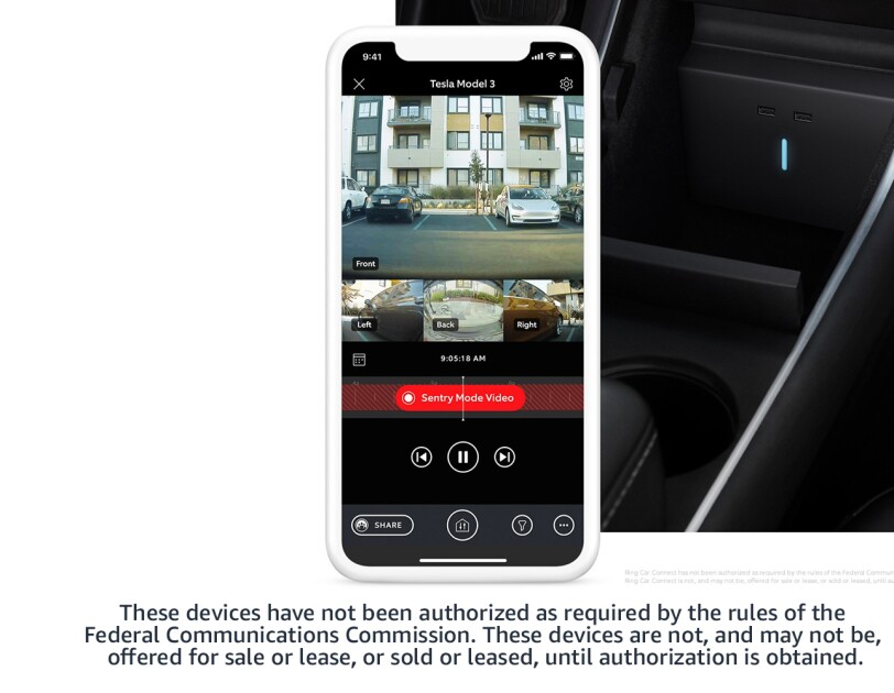 Phone screen showing Car Connect visual, and inside of the car