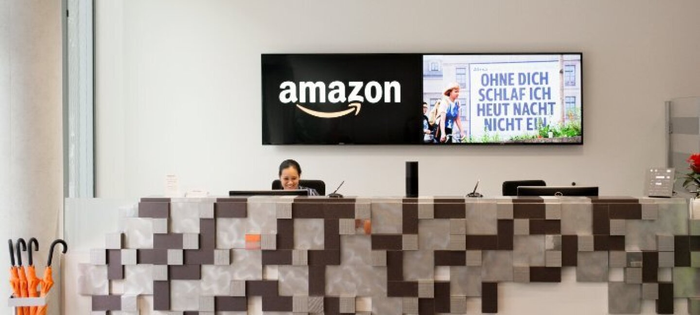 An Amazon office reception area