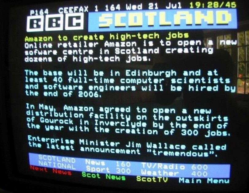Teletext first communicated news of Amazon launches