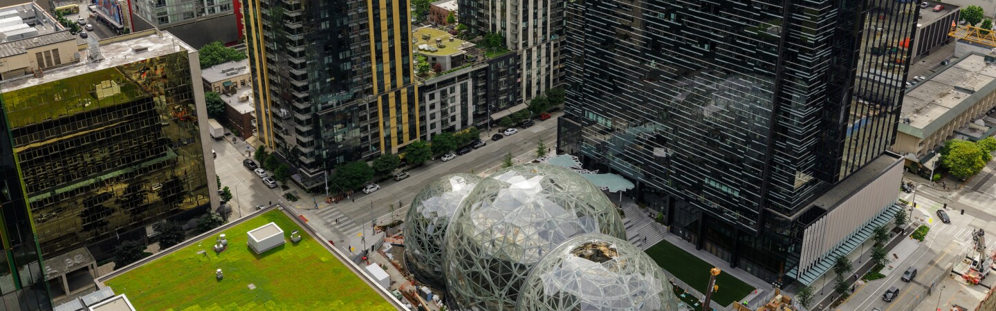 An aerial view of Amazon's South Lake Union campus in Seattle