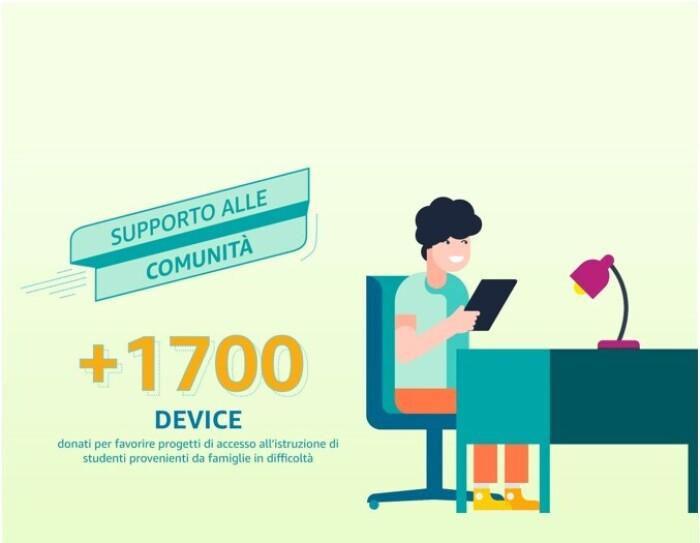 Sulla destra, illustrazione di un ragazzo seduto ad una scrivania con un tablet in mano. A sinistra, una scritta recita: '+1700 device donati per favorire progetti di accesso all'istruzione di studenti provenienti da famiglie in difficoltà'.