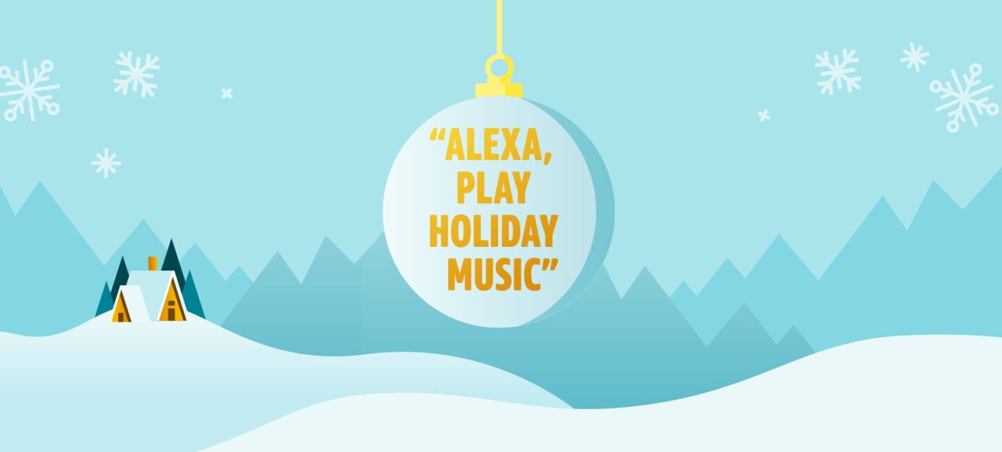 "An illustrated graphic with a holiday winter scene, an ornament with ""Alexa, play holiday music"" in the center."