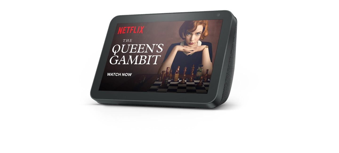 """An Amazon Echo Show displaying a Netflix page for the show """"The Queens Gambit"""""""