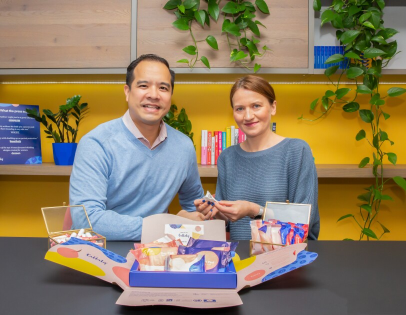 Thang Vo-Ta, CEO and co-founder at Callaly holding period products with colleague