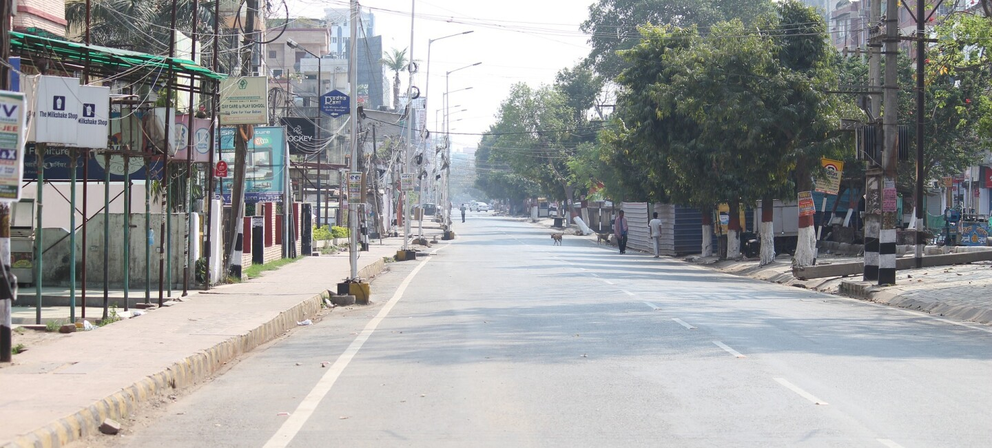 COVID lockdown - an empty street in India