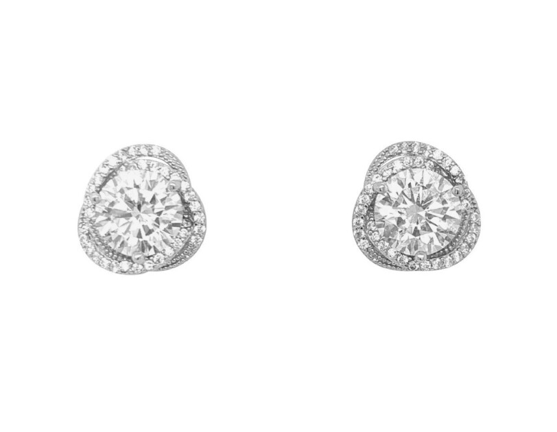 Bevilles sterling silver cubic zirconia swirl halo stud earrings