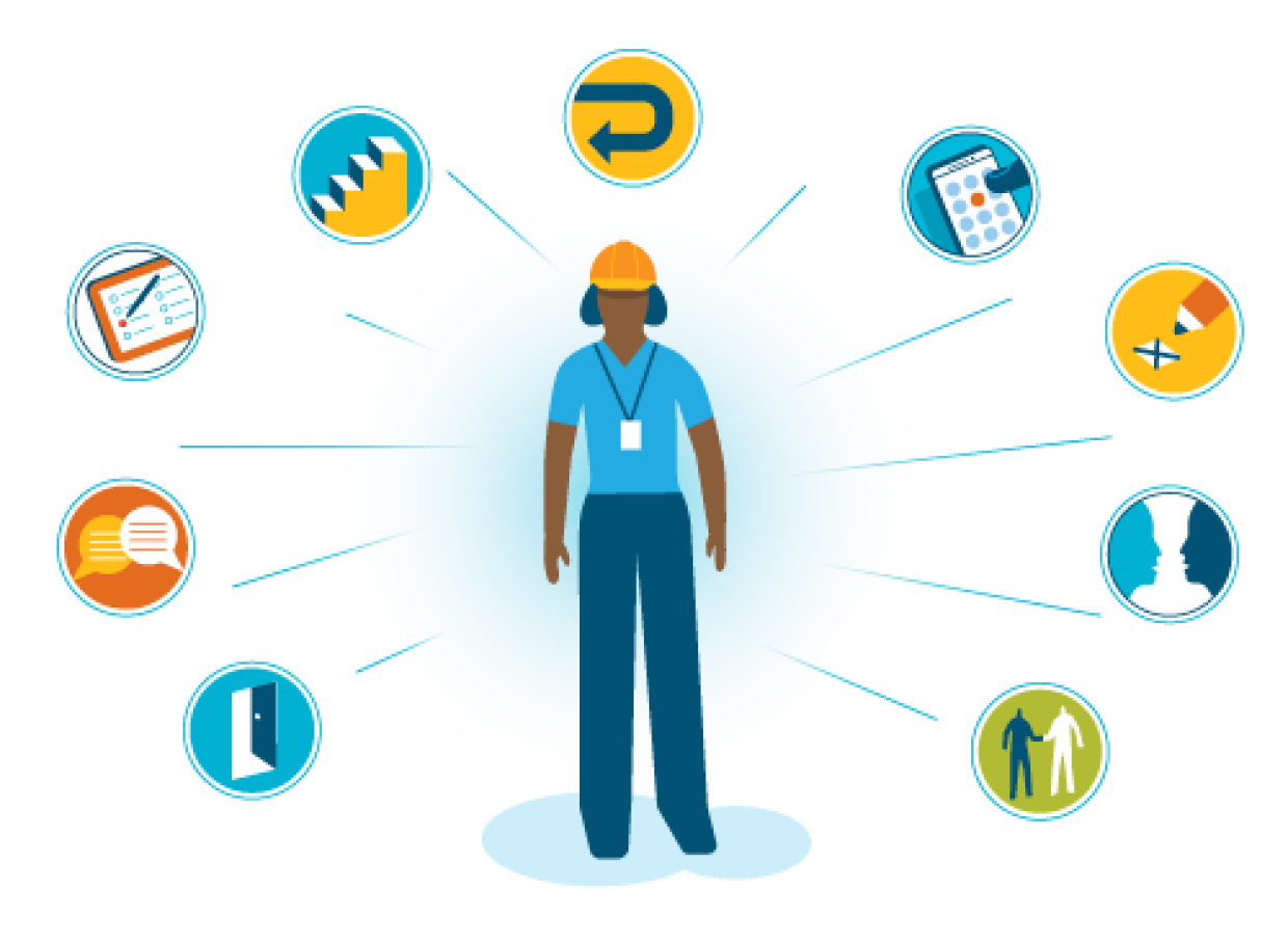 An employee with a badge and hard hat is surrounded by icons