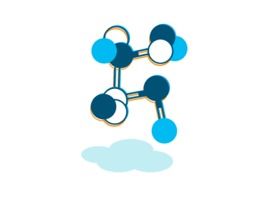 An illustrated structural view of a molecule symbolizing Amazon's chemicals policy.